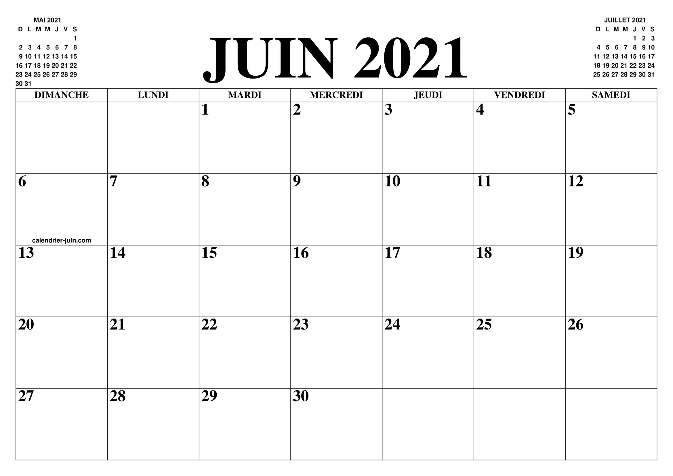 CALENDRIER JUIN 2021 : LE CALENDRIER DU MOIS DE JUIN GRATUIT A