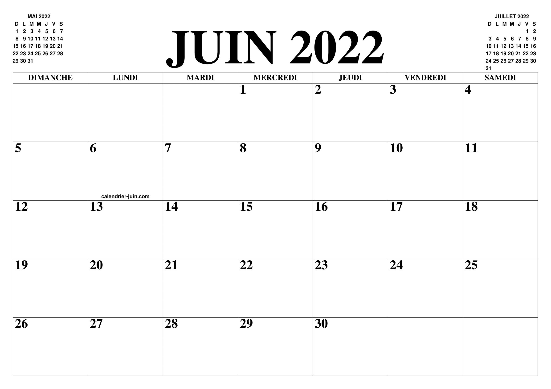 Calendrier Du Mois De Juin 2022 CALENDRIER JUIN 2022 : LE CALENDRIER DU MOIS DE JUIN GRATUIT A